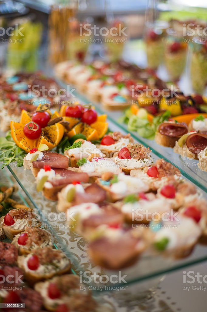 Canapes for events stock photo