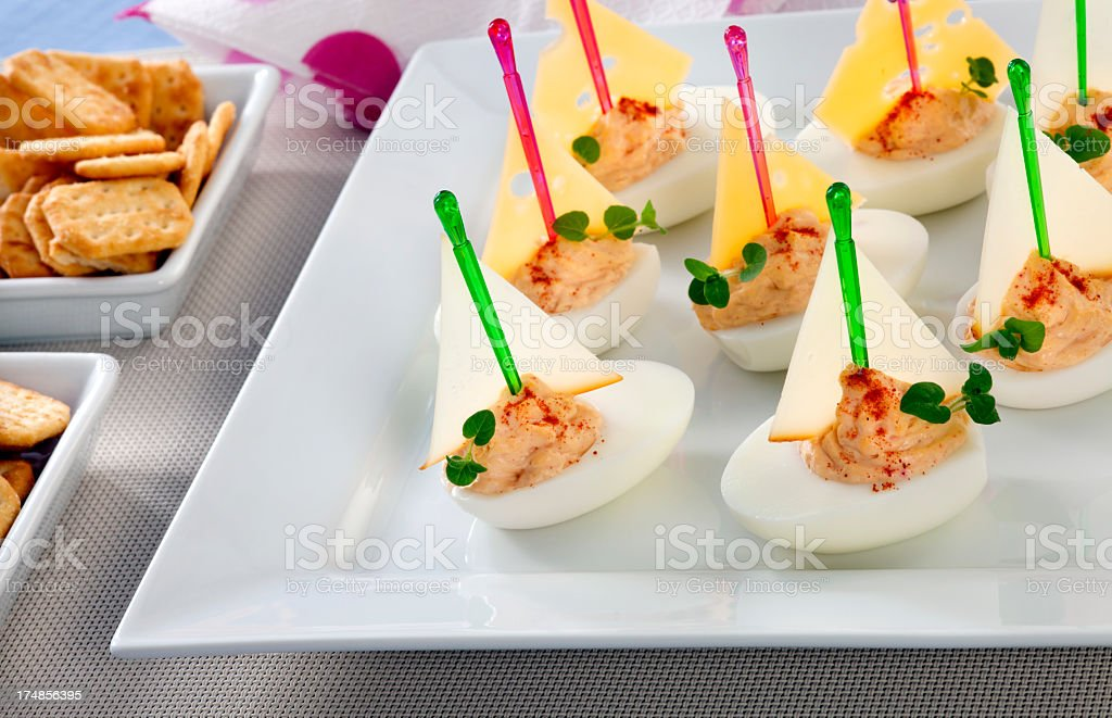 Canapes from eggs royalty-free stock photo