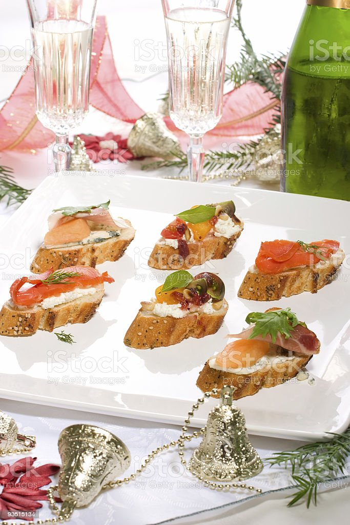 Canapes on holiday table royalty-free stock photo