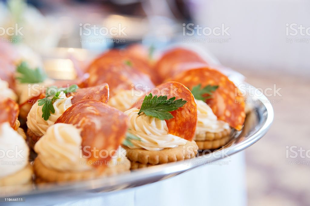 Canapes with choriso wurst royalty-free stock photo