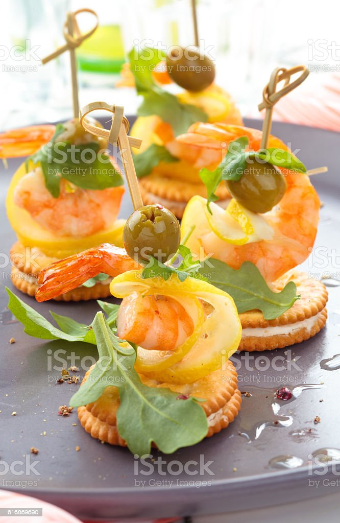 Canapes with prawns. stock photo