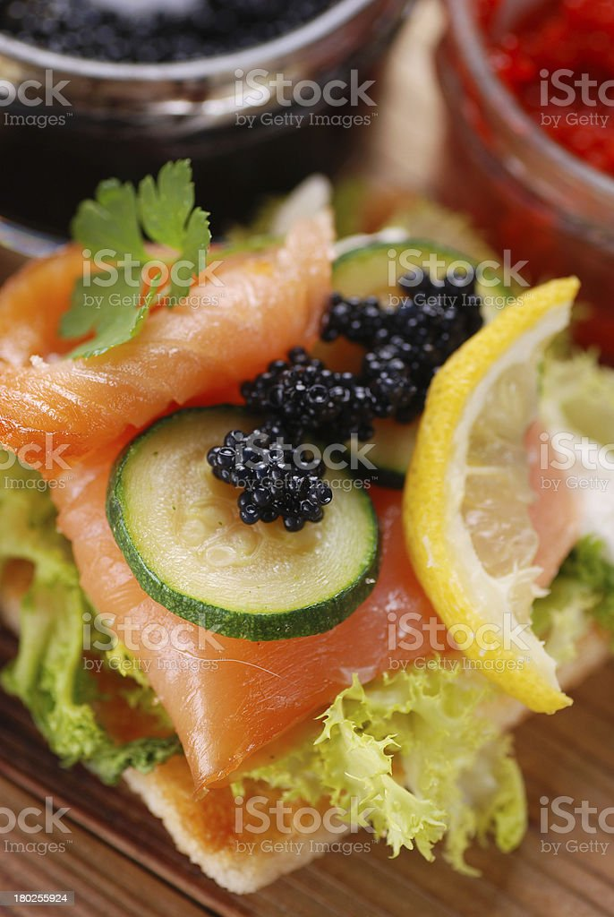 canapes with salmon and caviar royalty-free stock photo