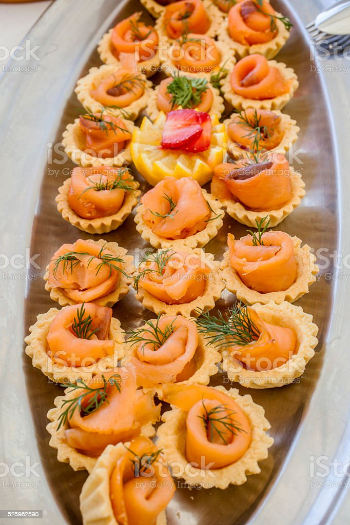 Canapes with salmon stock photo