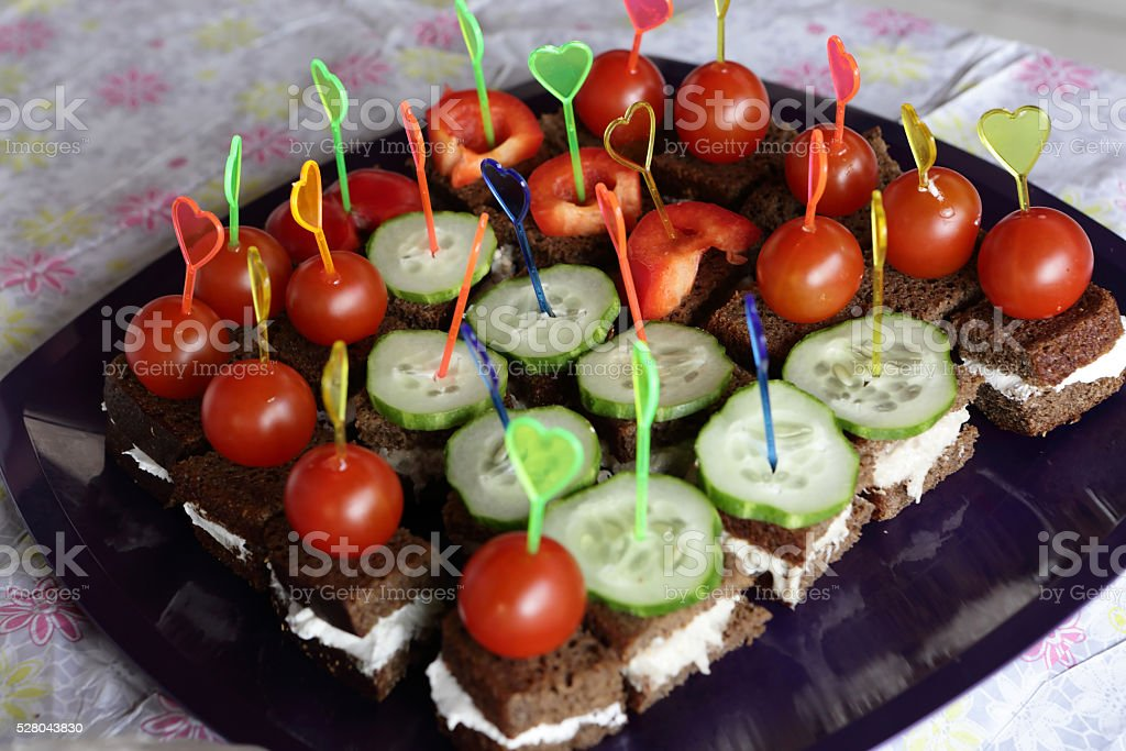 Canapes with vegetables stock photo
