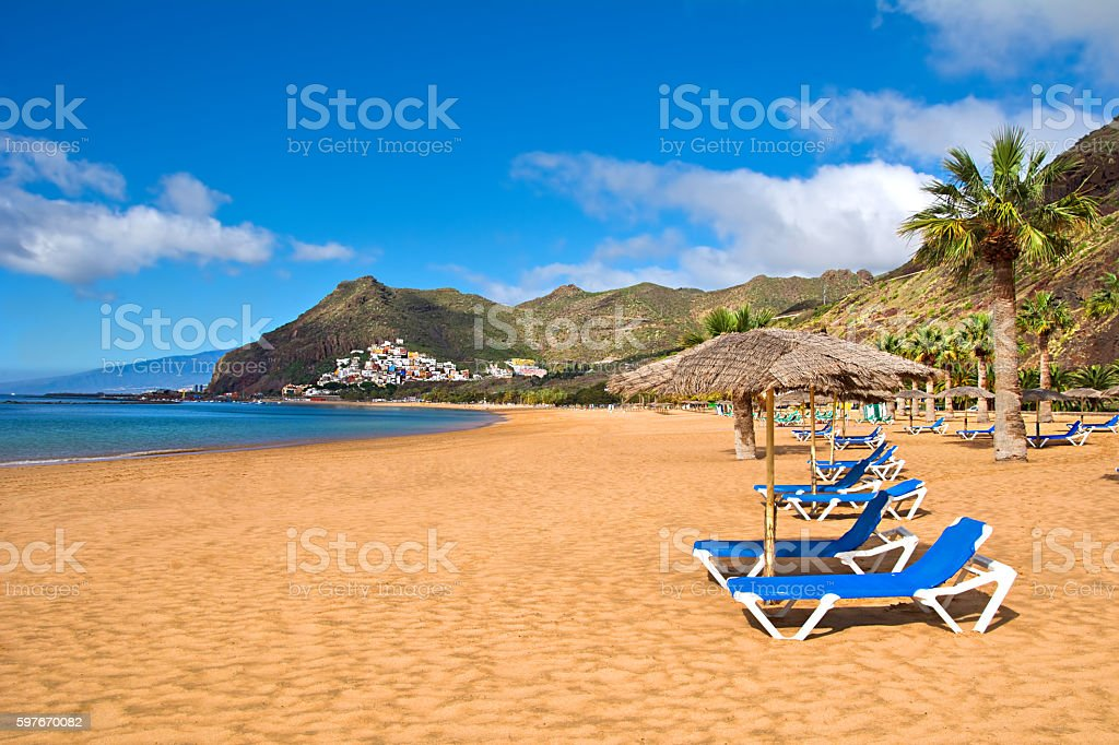 Canary Islands, Tenerife. Beach las Teresitas with yellow sand. stock photo