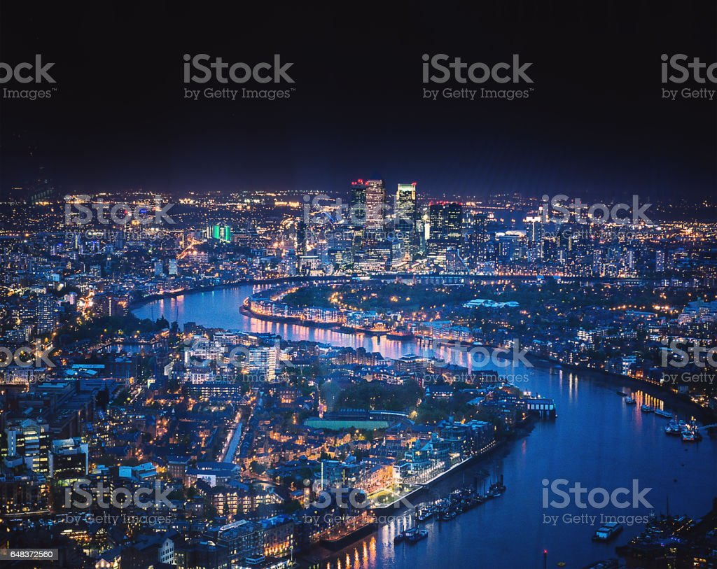 canary whard skyline at night stock photo
