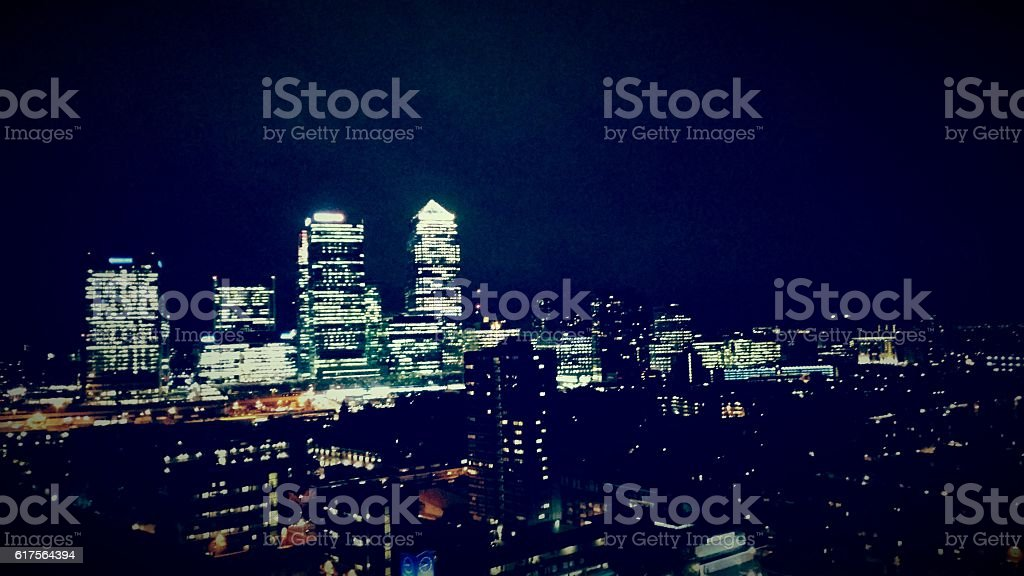 Canary Wharf  and local area at night stock photo