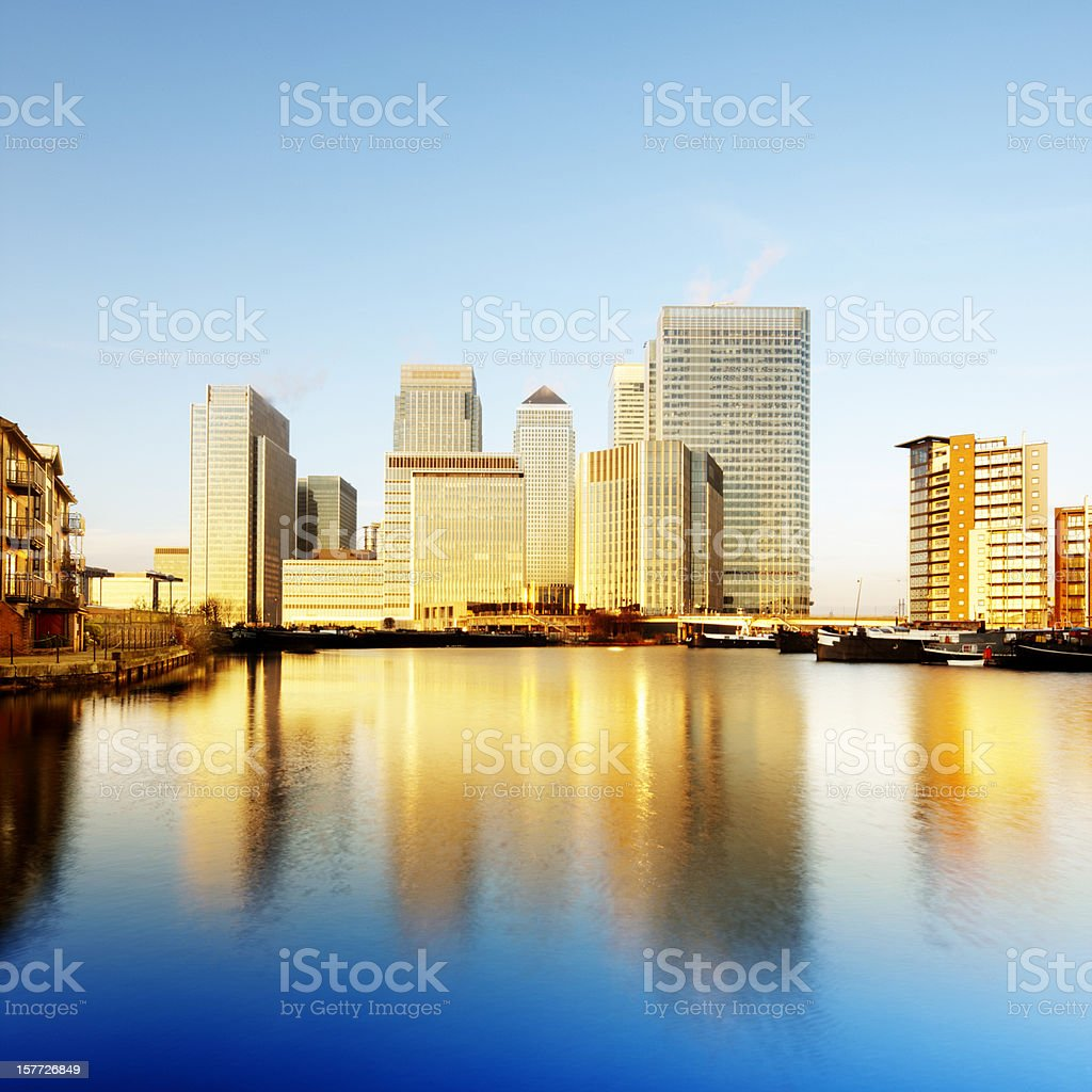 Canary Wharf at dawn stock photo