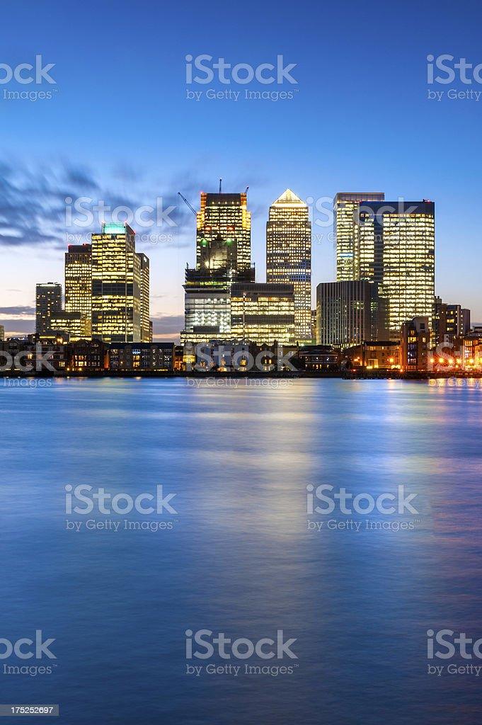 Canary Wharf at Dusk, London, England stock photo