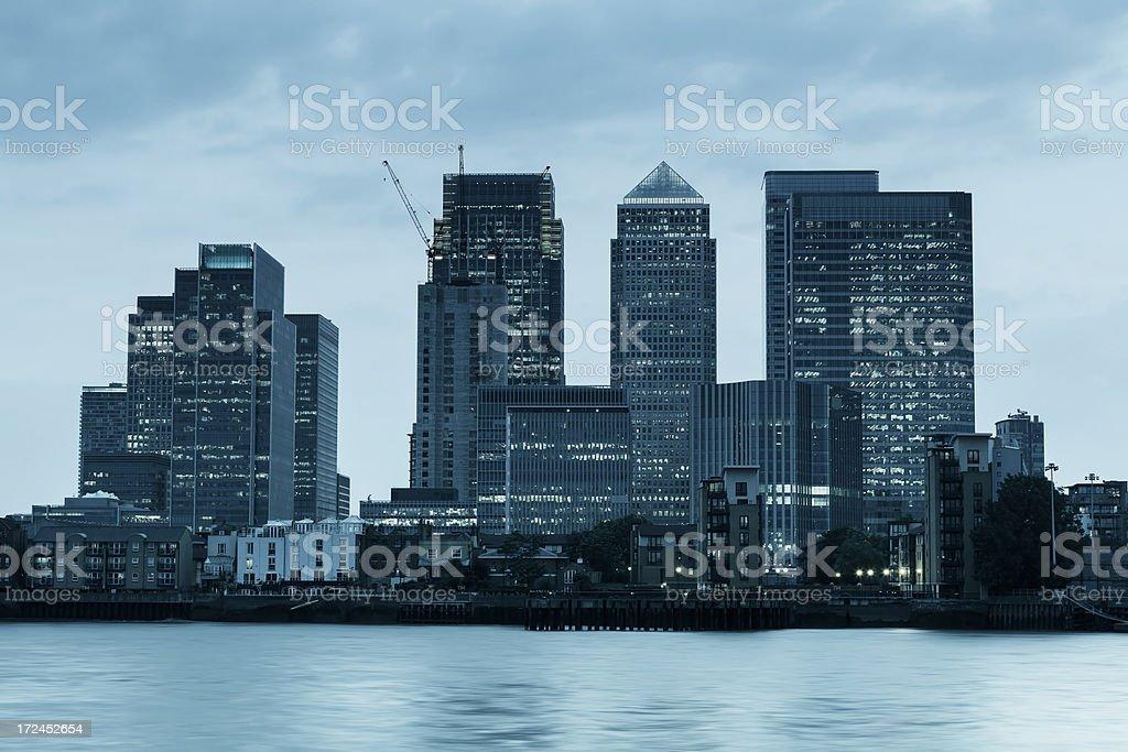 Canary Wharf at dusk royalty-free stock photo