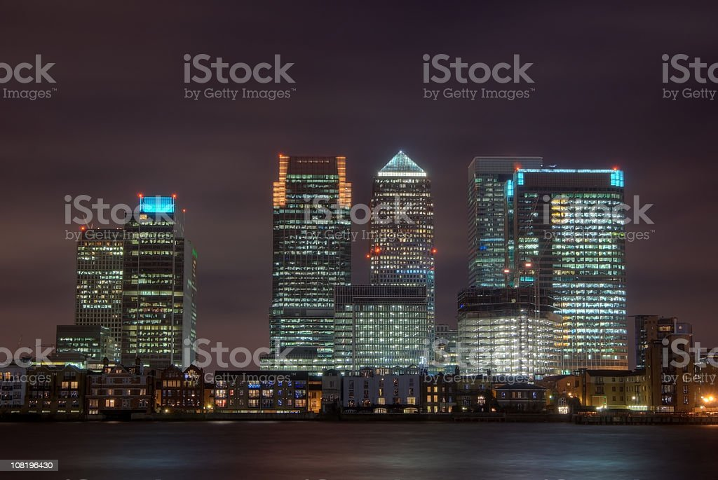 Canary Wharf at night, London, UK, copy space royalty-free stock photo