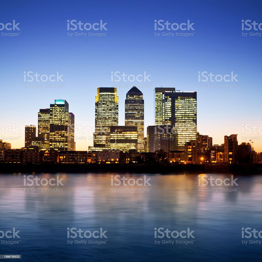 Canary Wharf at twilight stock photo