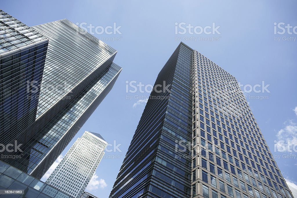 Canary Wharf business buildings in London royalty-free stock photo