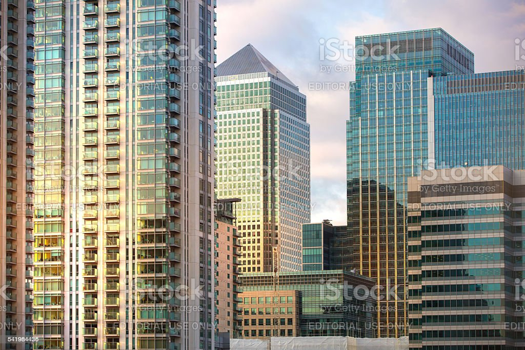 Canary Wharf business centre at sunset. London stock photo