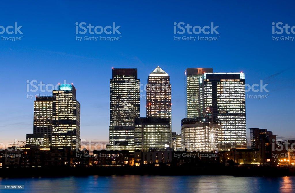 Canary Wharf City Skyline at Night in London UK stock photo
