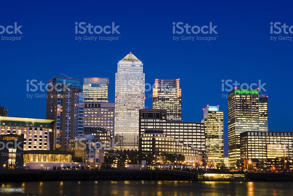 Canary Wharf City Skyline at Night in London UK stock photo