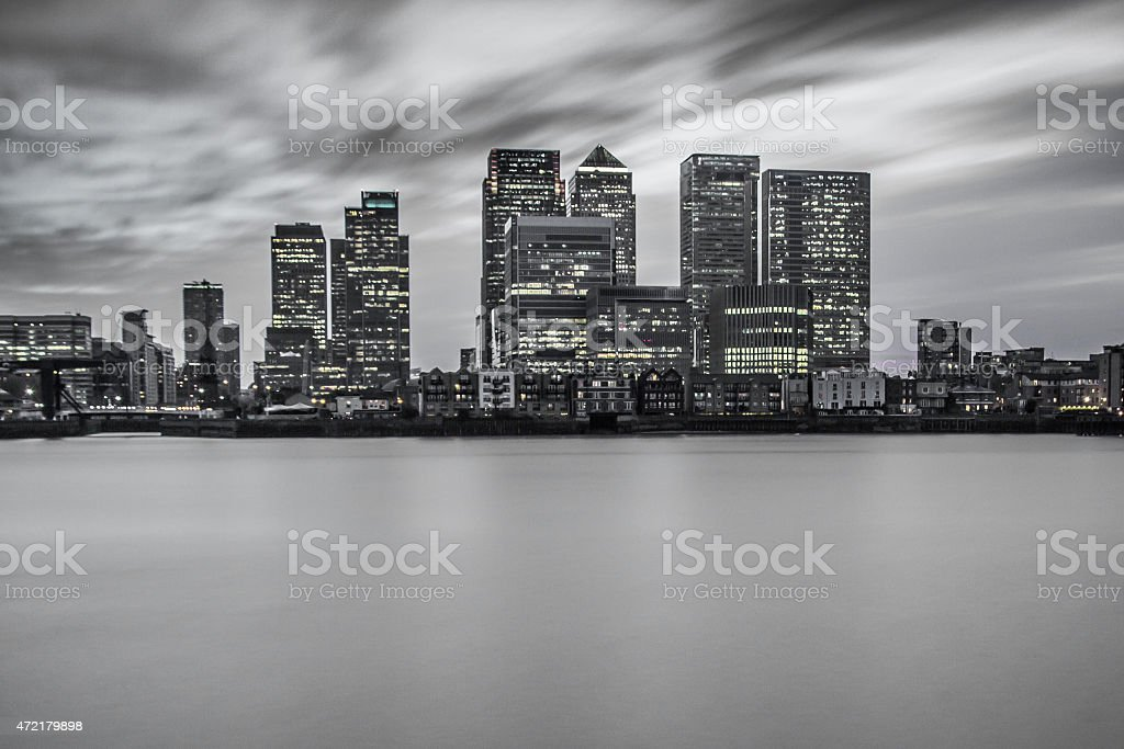 Canary Wharf - City Skyline - Selective Colour stock photo