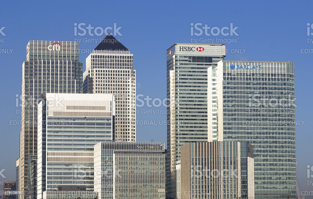 Canary Wharf Closeup stock photo