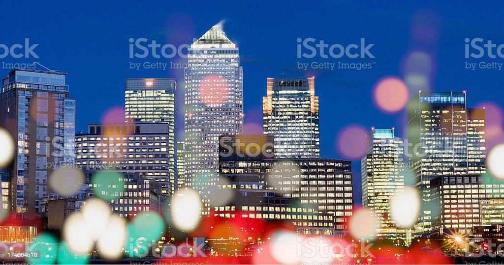 Canary Wharf Dusk stock photo