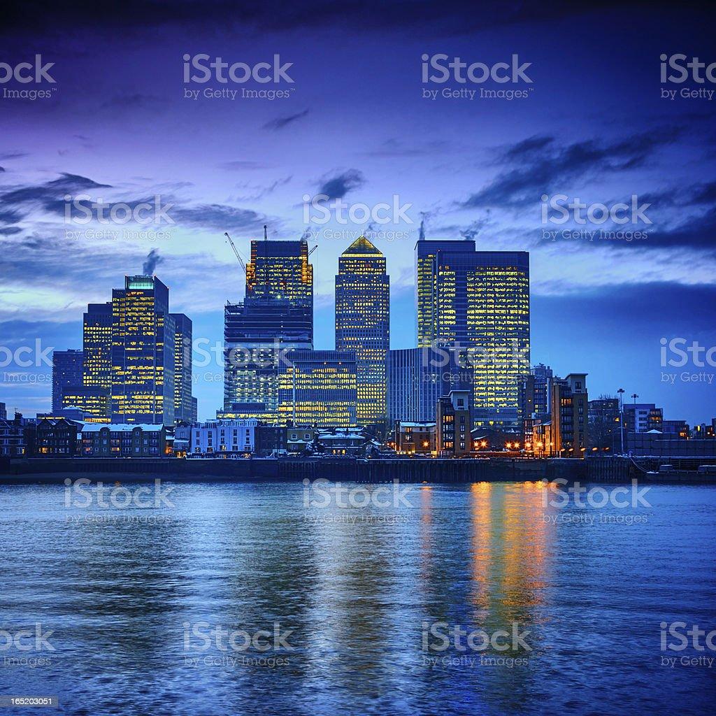Canary Wharf financial center at dusk, London stock photo