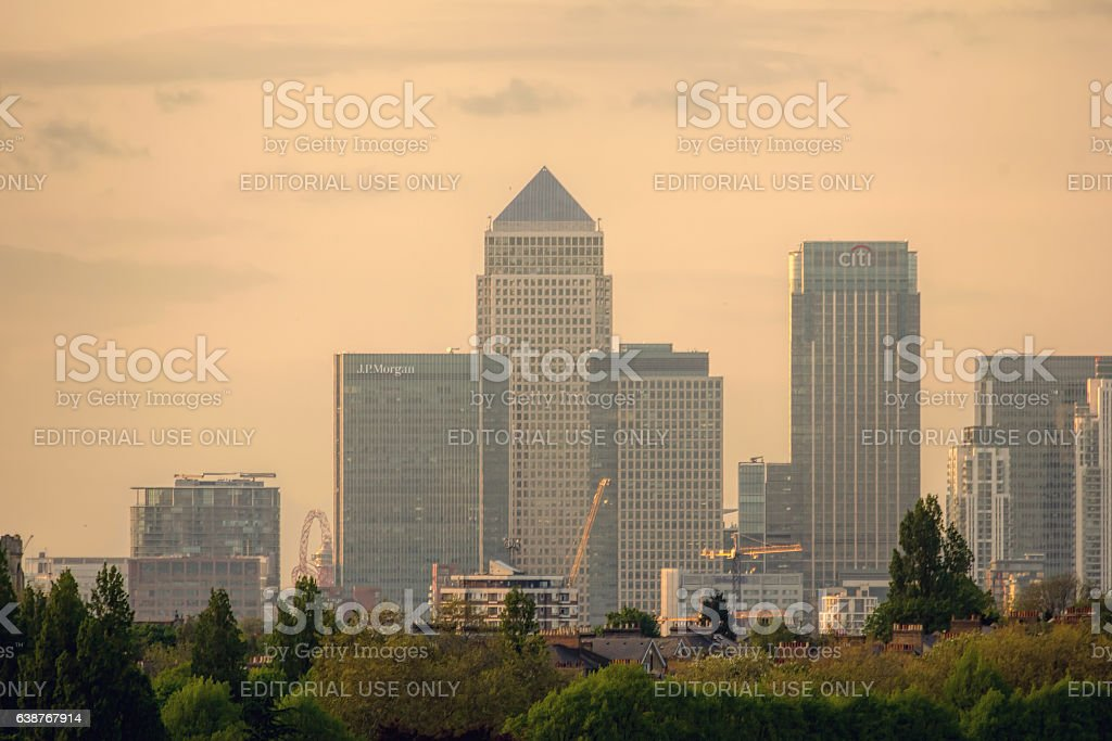 Canary Wharf Financial District At Sunset. stock photo