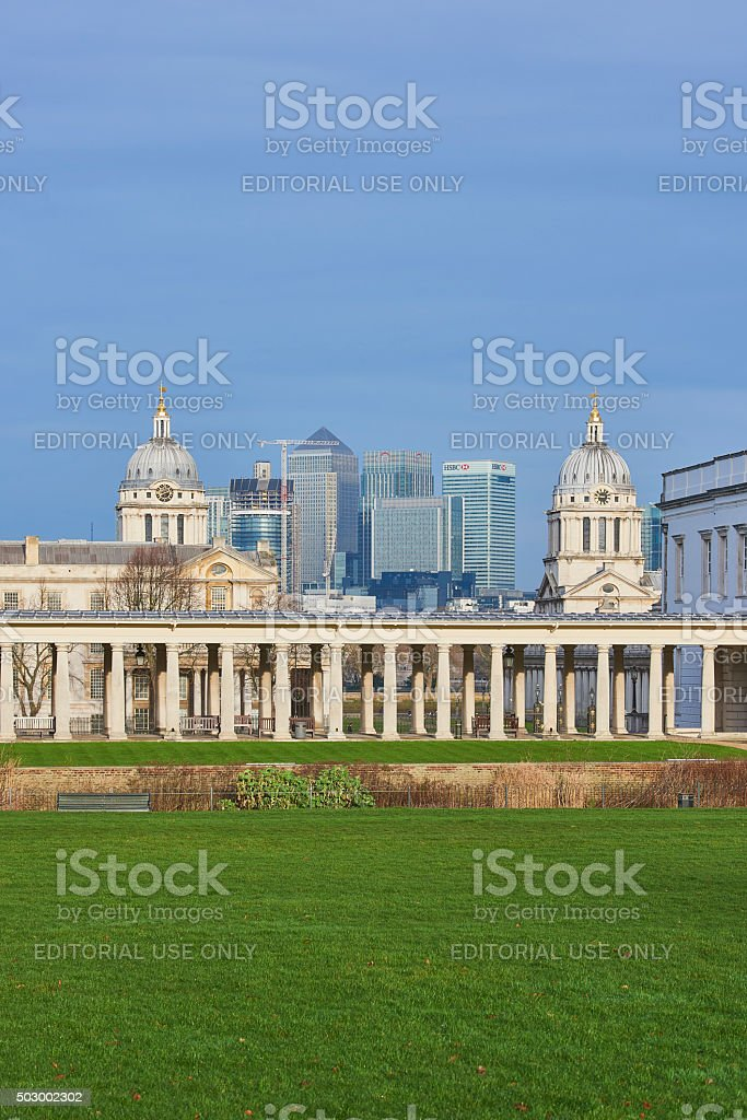 Canary Wharf from Greenwich stock photo