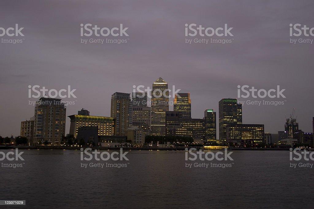 canary wharf - gloomy with lights royalty-free stock photo