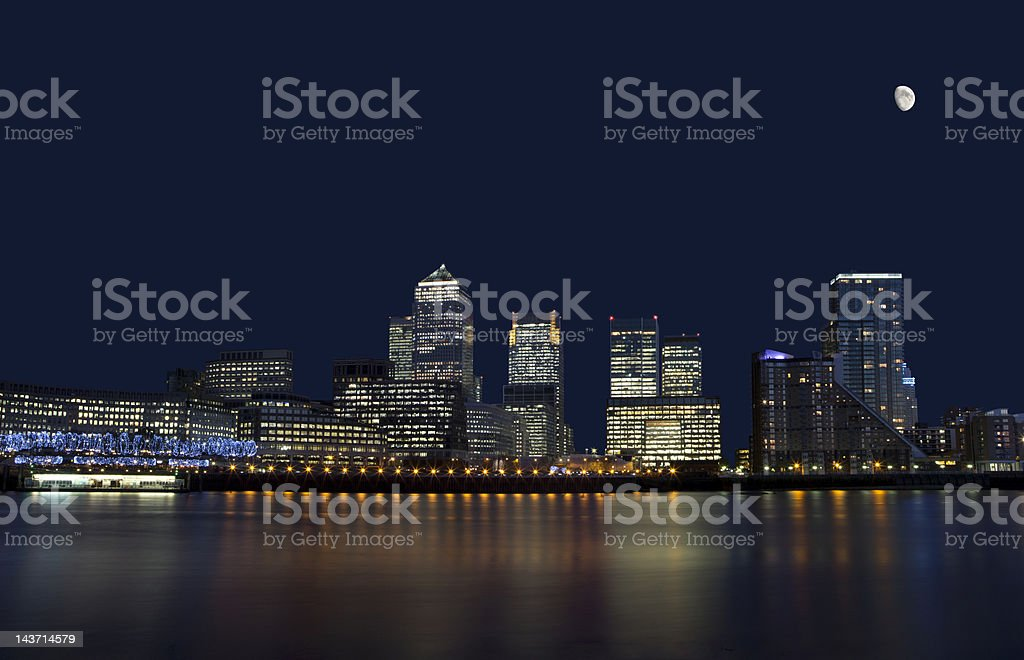Canary Wharf in London at night royalty-free stock photo
