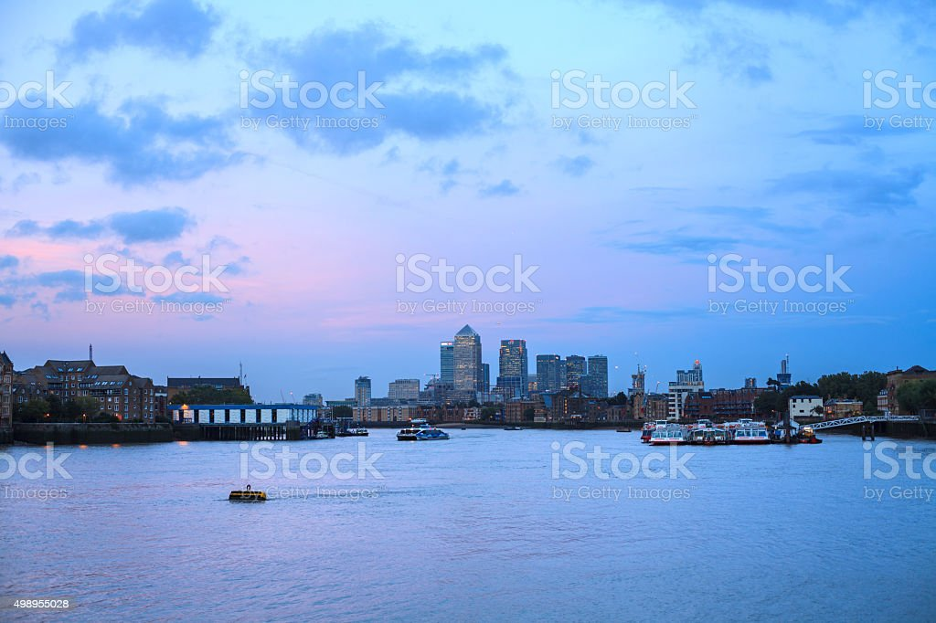 Canary Wharf in the Evening, London stock photo