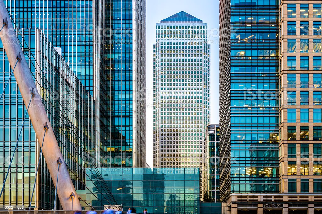 Canary Wharf in The Evening stock photo