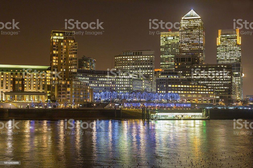 Canary Wharf, London at night royalty-free stock photo