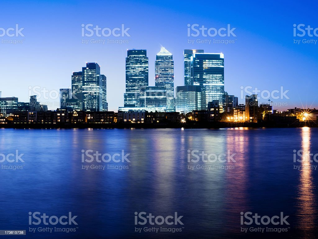 Canary Wharf London City Skyline at Night in London UK royalty-free stock photo