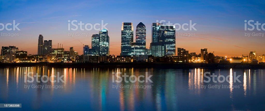 Canary Wharf London City Skyline at Night stock photo