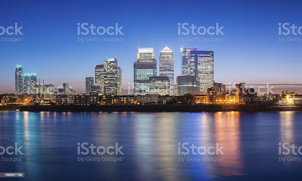 Canary Wharf London City Skyline at Night UK stock photo