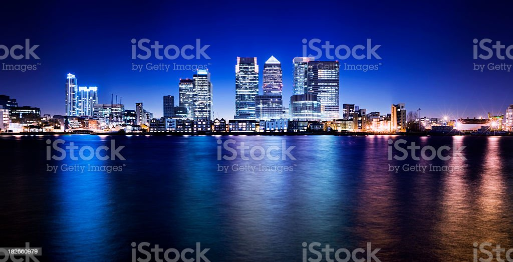 Canary Wharf London City Skyline UK stock photo