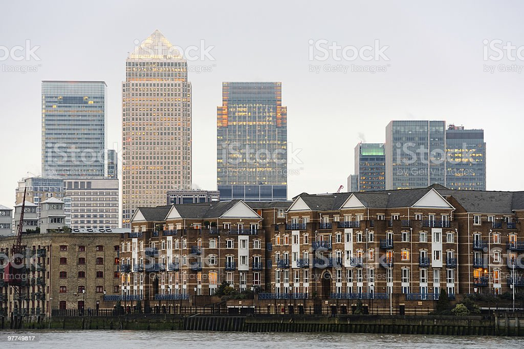 Canary Wharf, London, England, UK, at dusk royalty-free stock photo
