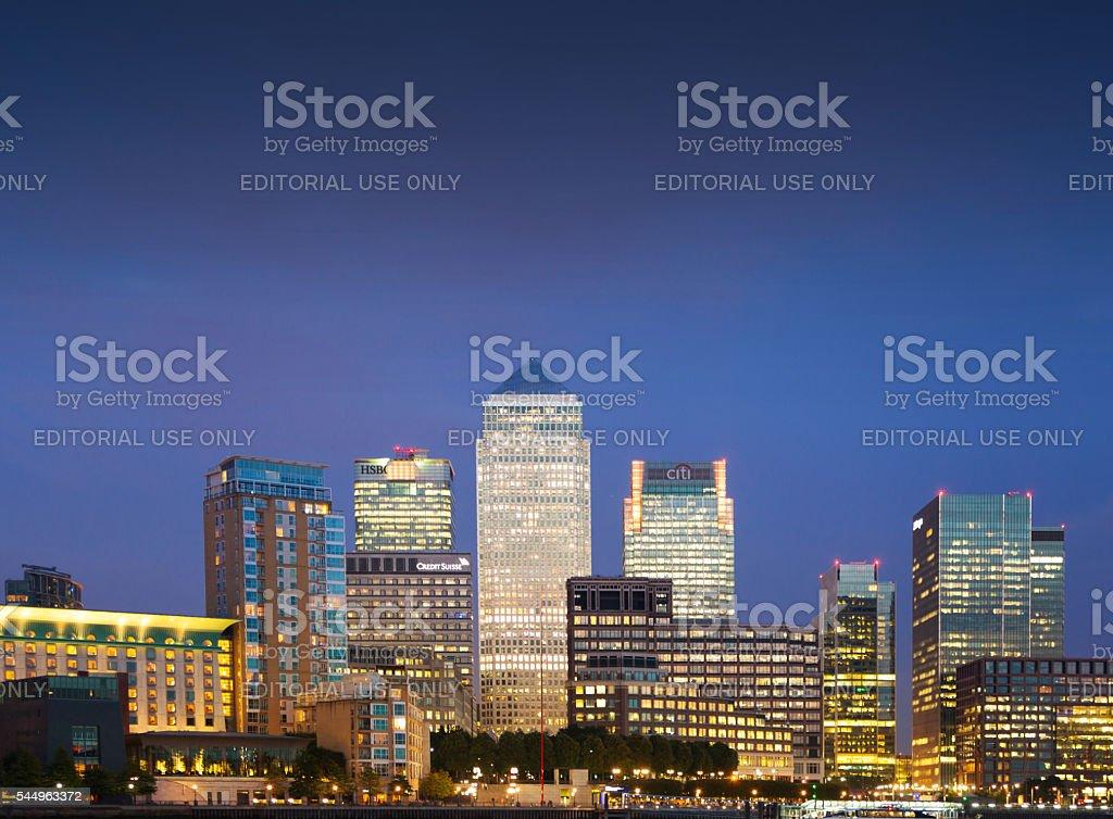 Canary Wharf night panorama. London stock photo