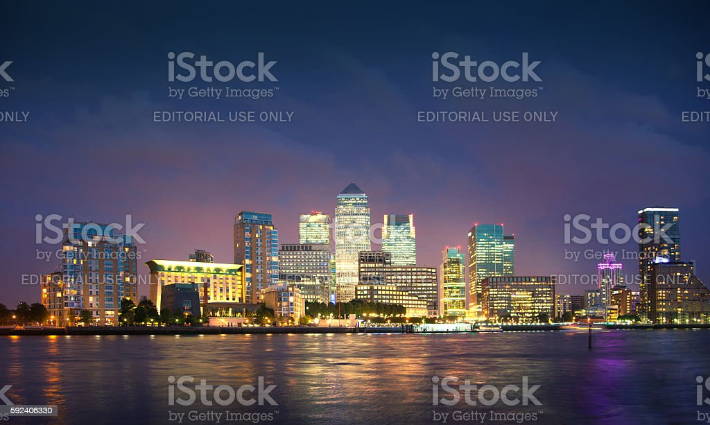 Canary Wharf night panorama. London stock photo