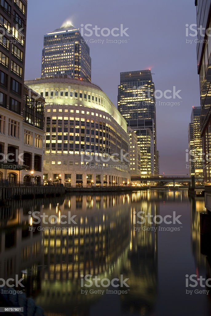 Canary Wharf Night Reflection. royalty-free stock photo