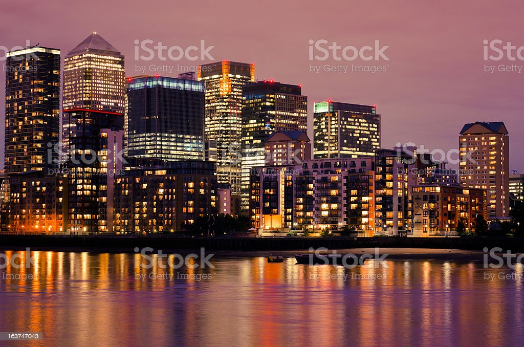 Canary Wharf night skyline - London royalty-free stock photo