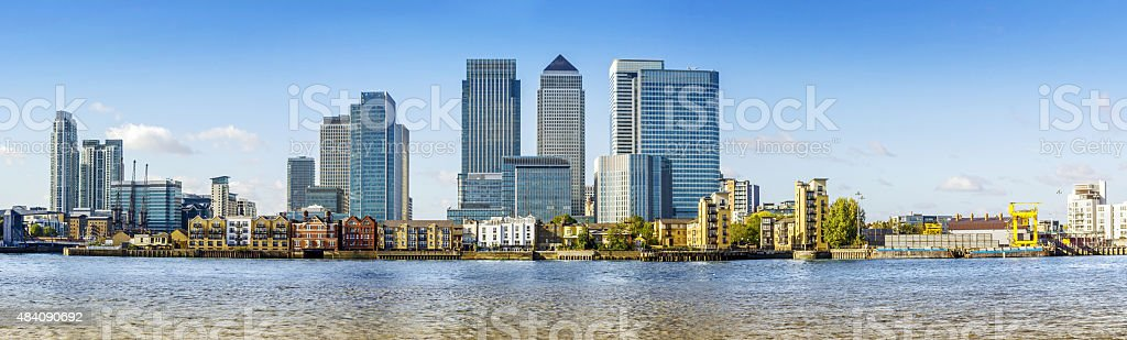 Canary Wharf panorama, London stock photo