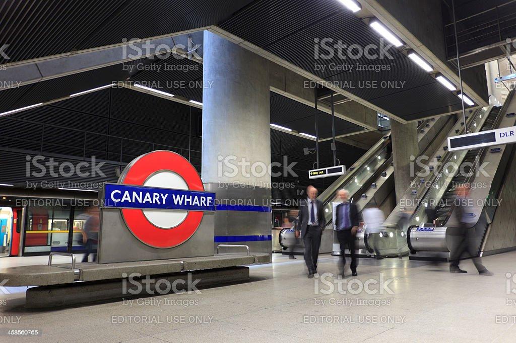 Canary Wharf Railway Station stock photo