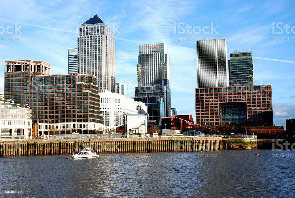 Canary Wharf riverside and office buildings royalty-free stock photo