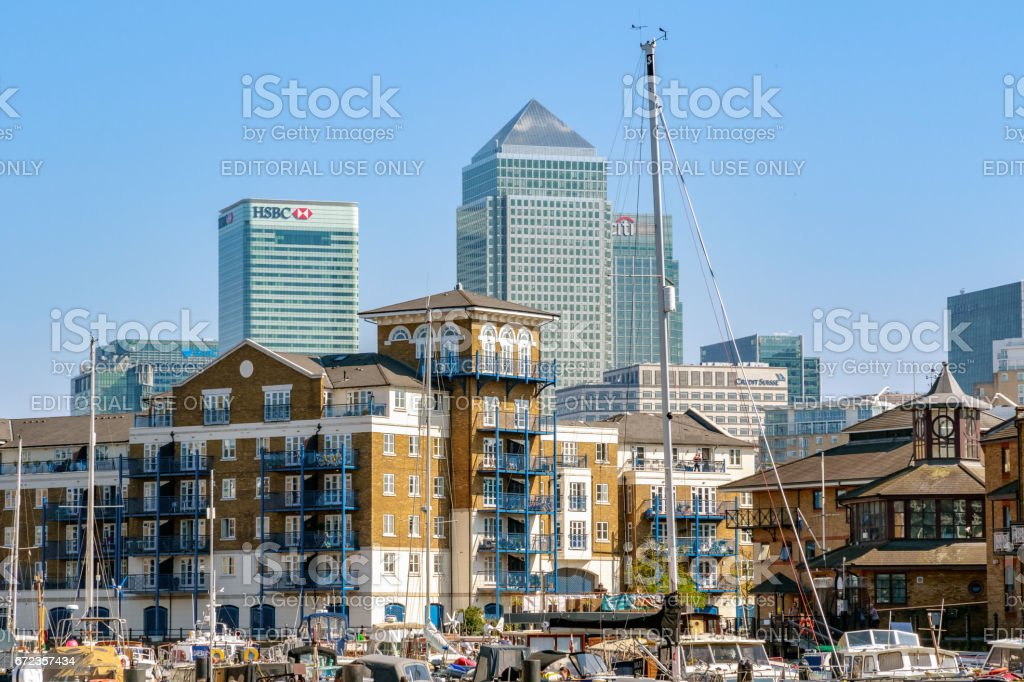 Canary Wharf seen from Limehouse Basin stock photo