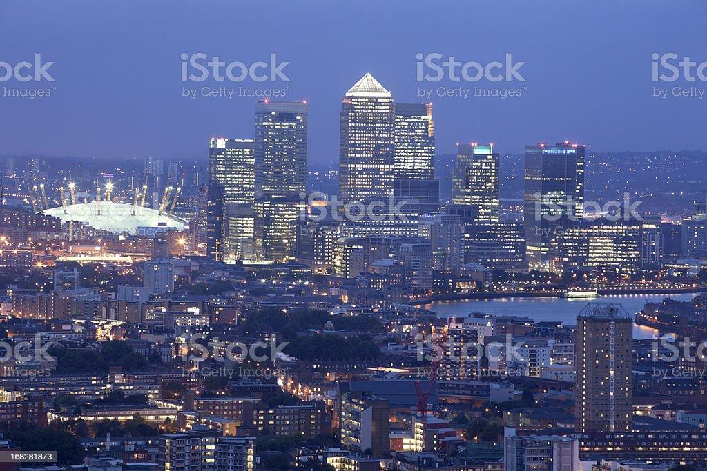 Canary Wharf Skyline at dusk (XXXL) stock photo