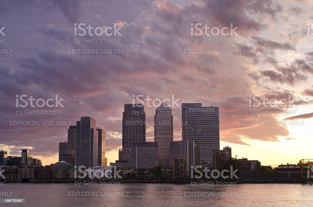 Canary Wharf skyline at sunset stock photo