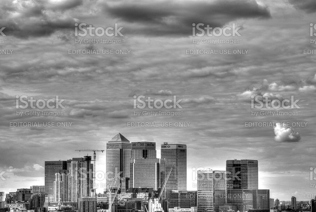 Canary Wharf Skyline from Greenwich Observatory stock photo