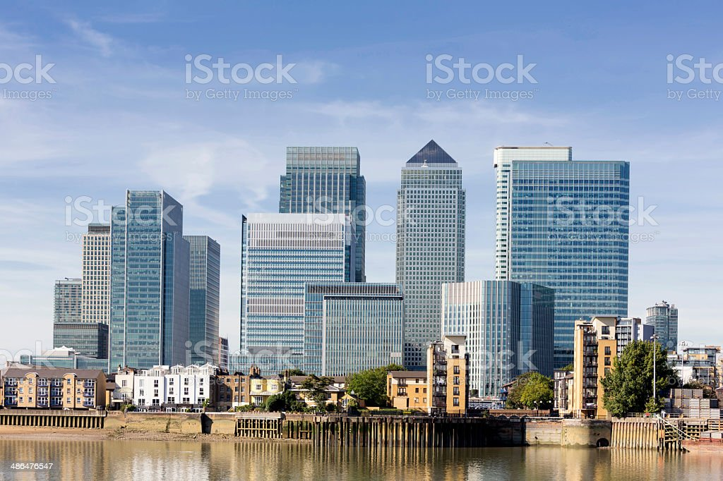 Canary Wharf skyline stock photo