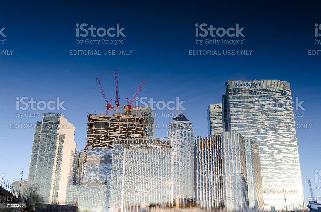 Canary Wharf skyscraper reflection, London stock photo