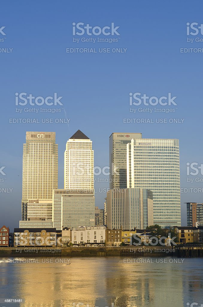 Canary Wharf skyscrapers sunrise, London stock photo